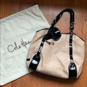Cole Haan straw and patent leather bag